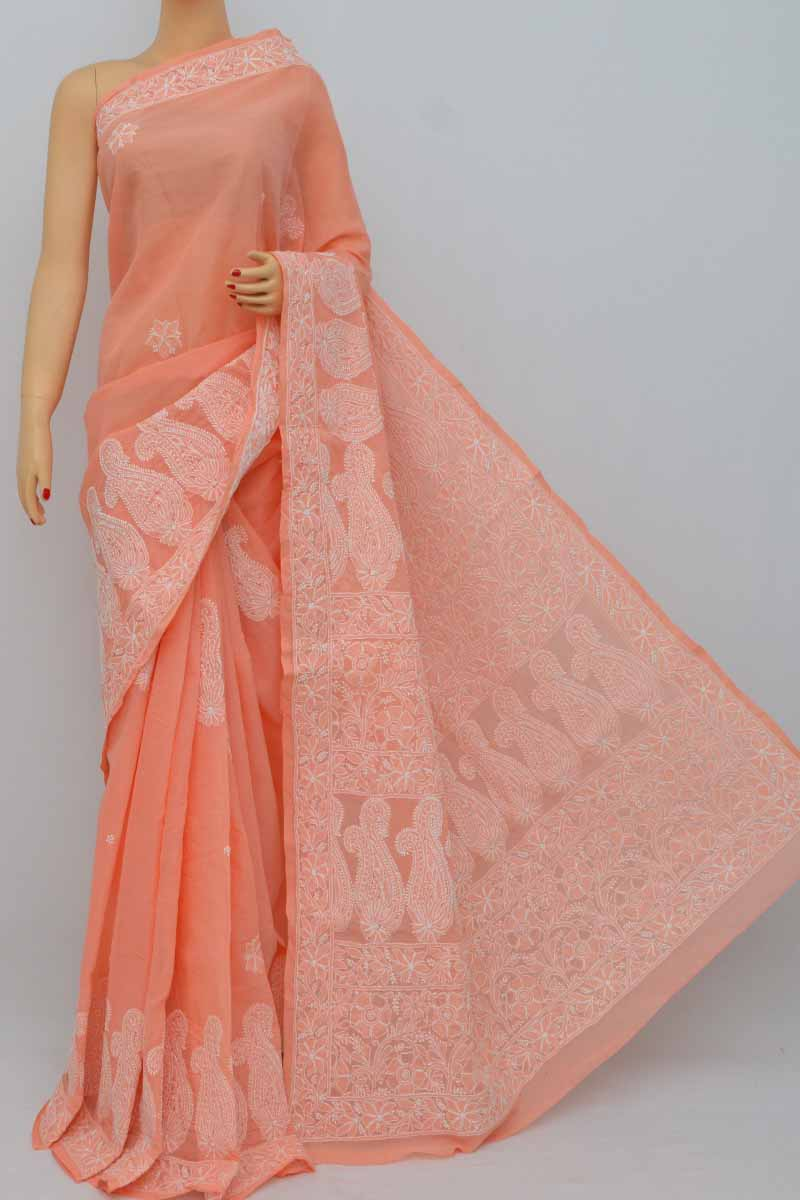 Peach Color Hand Embroidered Lucknowi Chikankari Saree (With Blouse - Cotton) MY250399