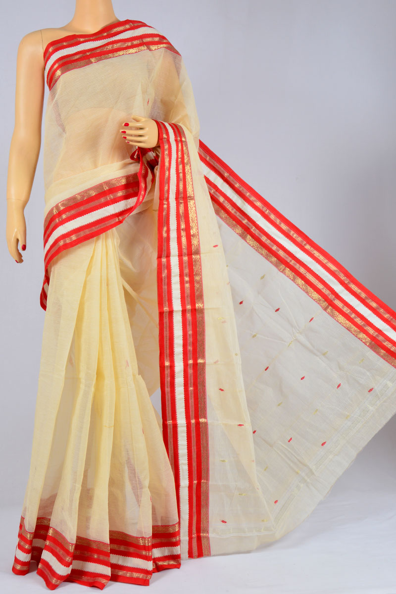 Sugar Cookie Color Handwoven Bengal Tant Cotton Saree (Without Blouse) - MC250153