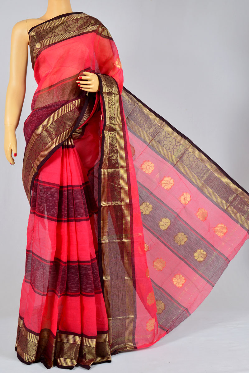 Amaranth Color Handwoven Bengal Handloom Cotton Tant Saree (without Blouse) - MC250154
