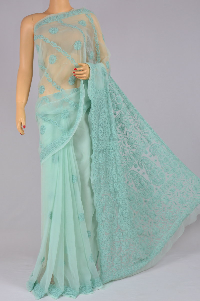Pastel Blue Color Hand Embroidered Half Chhadi Lucknowi Chikankari Saree (With Blouse - Georgette) KC250216
