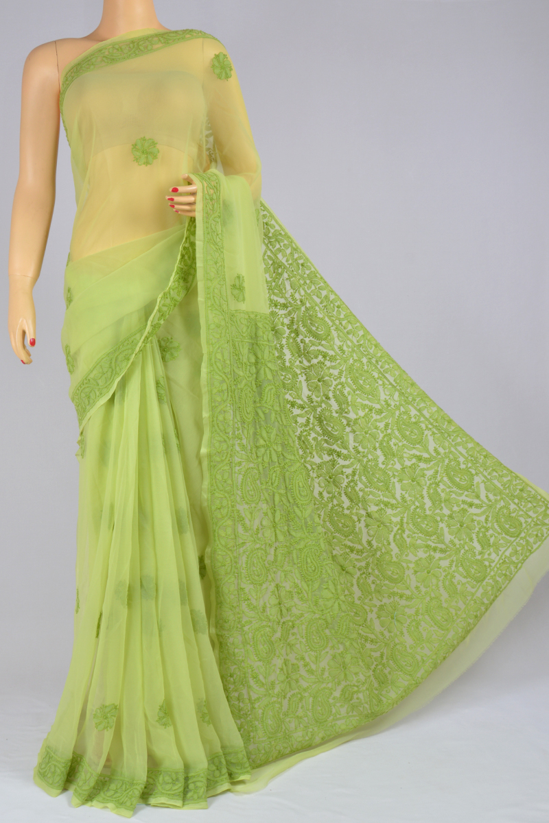 Olive Color Hand Embroidered Heavy Palla Lucknowi Chikankari Saree (With Blouse - Georgette) SS250217