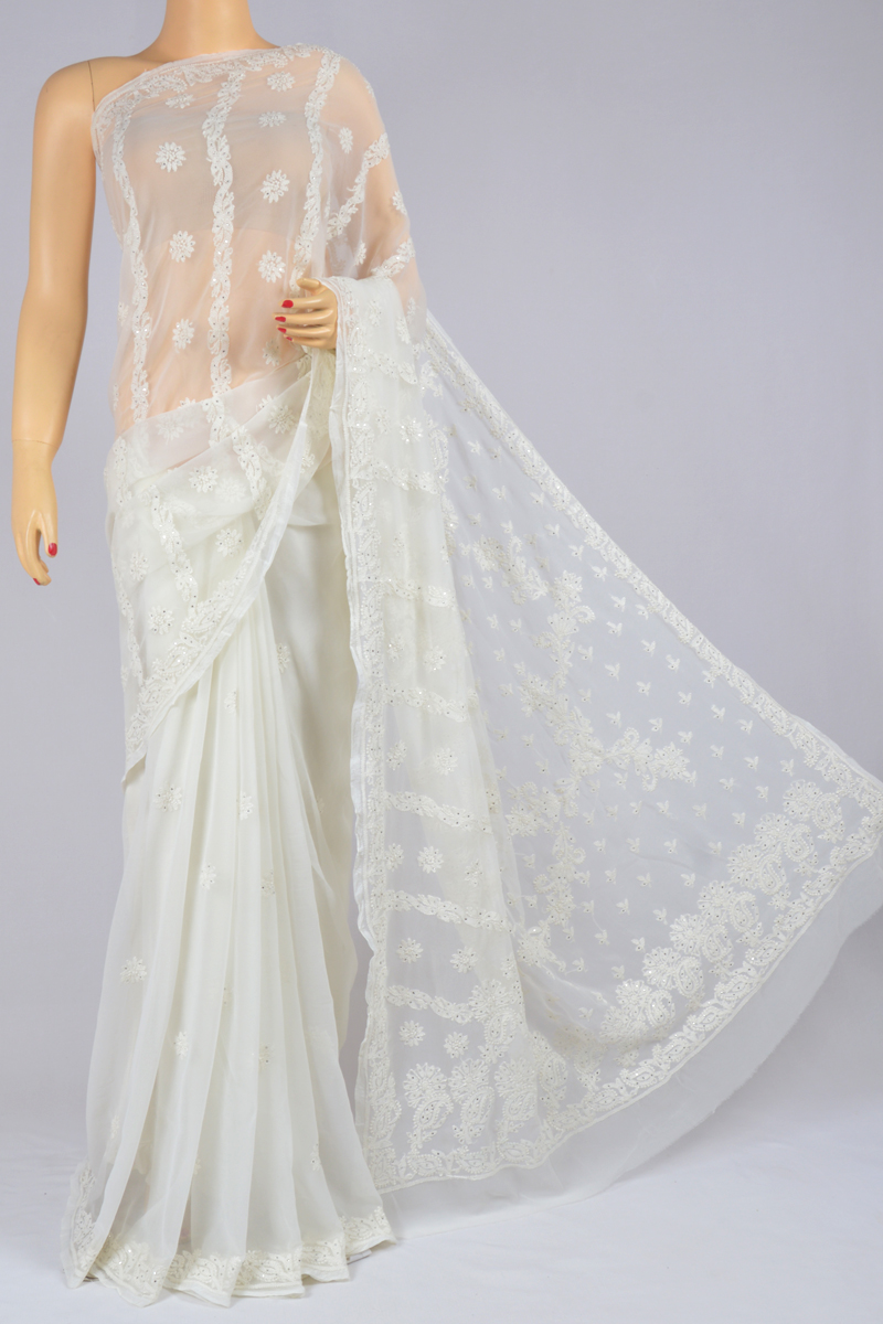 Lace Color Mukaish Work Half Chhadi Hand Embroidered Designer Lucknowi Chikankari Saree (With Blouse - Georgette) SS250221