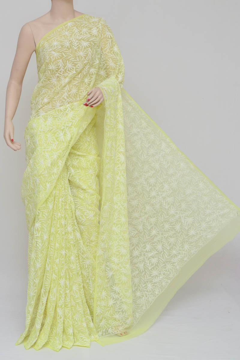d9ff905059eb60 Yellow Color Hand Embroidered Tepchi Work Lucknowi Chikankari Saree (With  Blouse - Georgette) MY250749