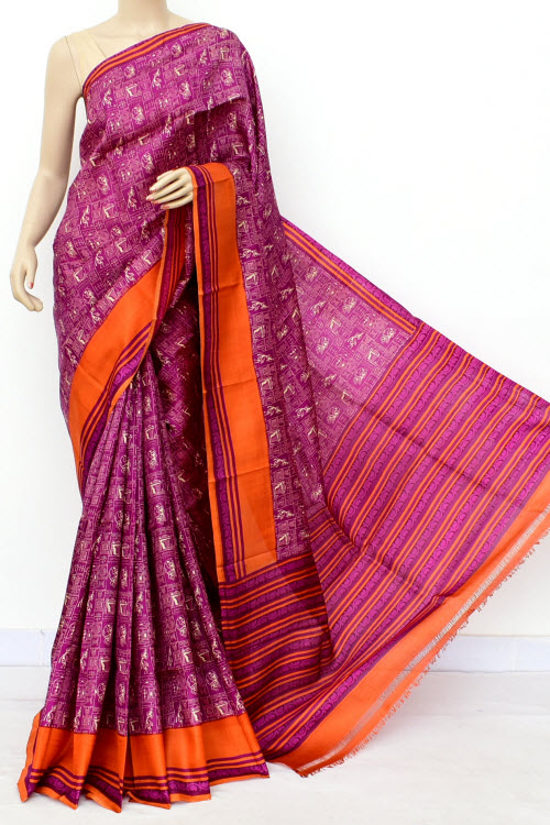 Darkpink Colour Pure Silk Saree (With Blouse) 16343