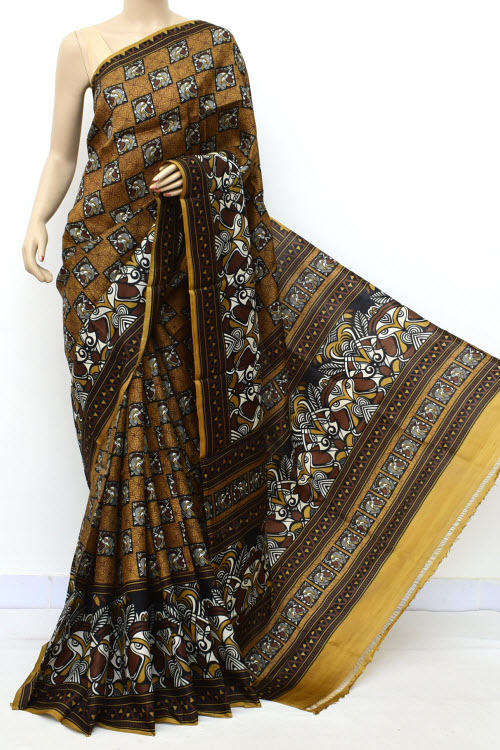 Brown Colour Pure Silk Saree (With Blouse) 16349