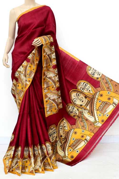 Red Colour Pure Silk Saree (With Blouse) 16351