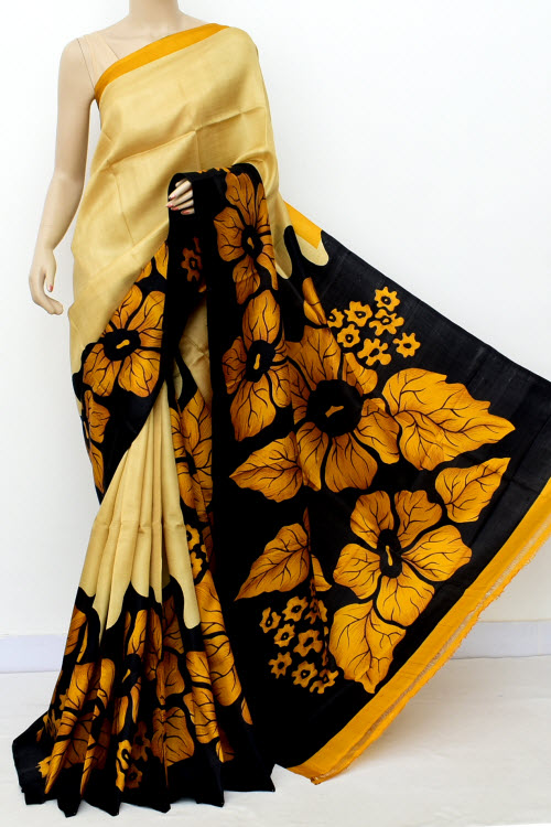 Yellow Black Colour Pure Silk Saree (With Blouse) 16354