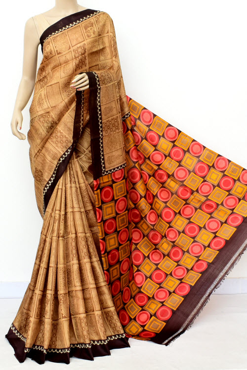 Brown Colour  Pure Silk Saree (With Blouse) 13814