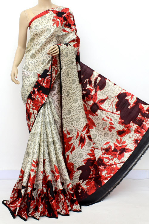 Offwhite Colour  Pure Silk Saree (With Blouse)16356