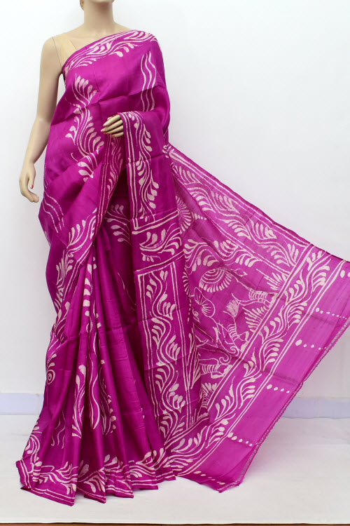 Drakpink Colour  Pure Silk Saree (with Blouse) 16362
