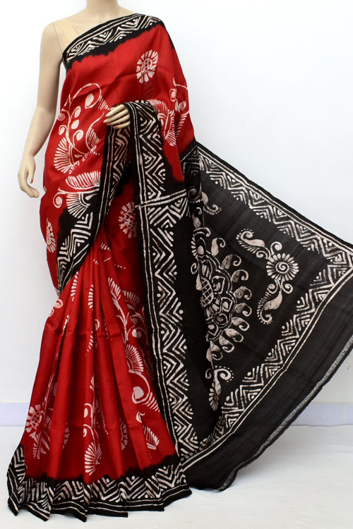 Red Black Colour  Pure Silk Saree (with Blouse) 16363