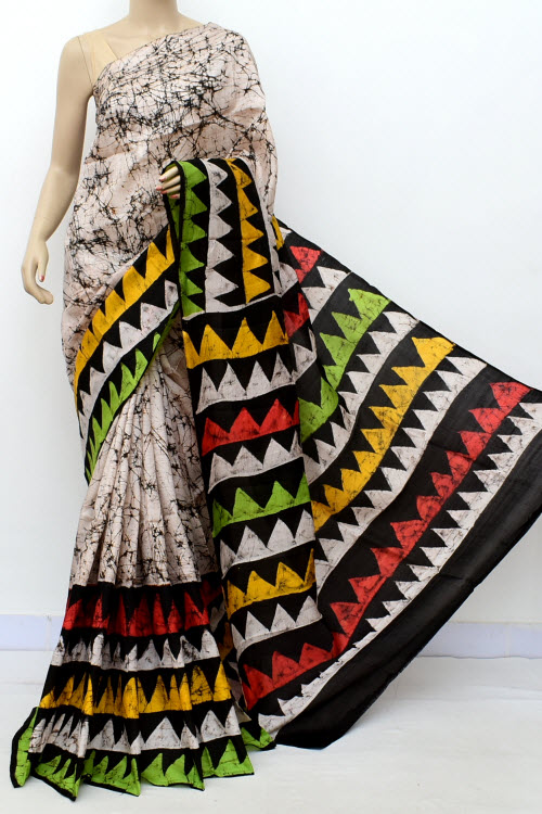 Biege Colour  Pure Silk Saree (With Blouse) 16364
