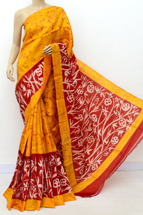 Yellow Colour  Pure Silk Saree (With Blouse) 16365