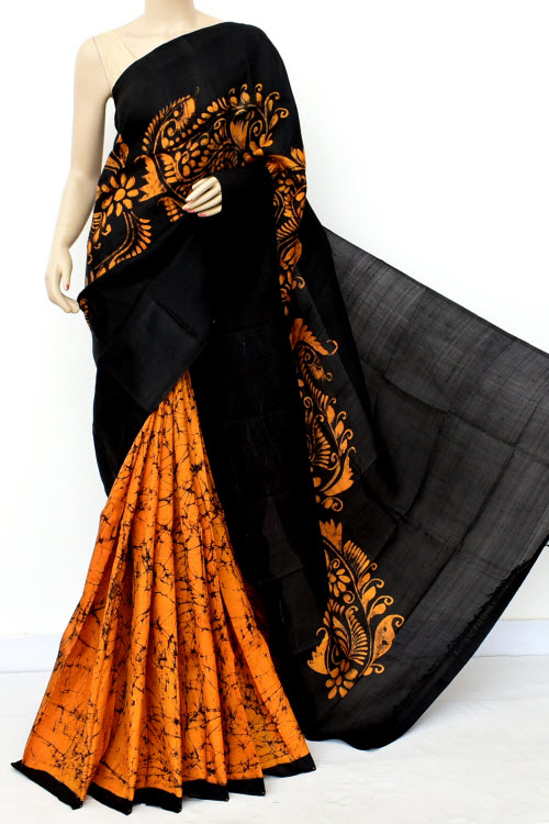 Black Colour  Pure Silk Saree (with Blouse) 16366