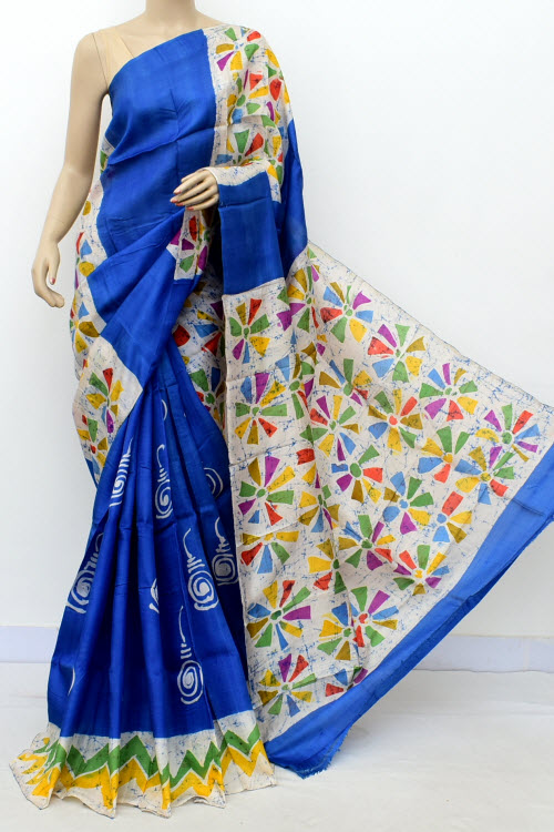 Blue Colour  Pure Silk Saree (with Blouse) 16369