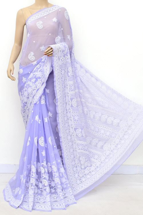 Lavender Hand Embroidered Lucknowi Chikankari Saree (Georgette-With Blouse) 14633