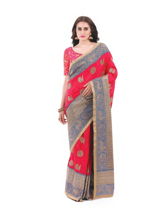 Banarsi Silk Saree In Blue With Contrast Red Blouse