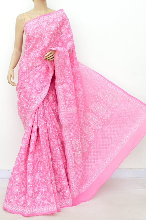 Pink Allover Hand Embroidered Lucknowi Chikankari Saree (Cotton-With Blouse) 14731