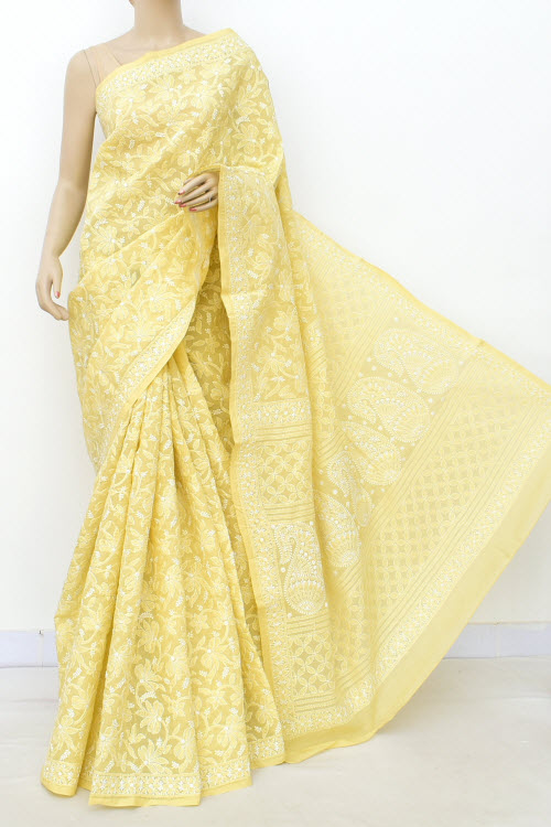 Lemon Allover Hand Embroidered Lucknowi Chikankari Saree (Cotton-With Blouse) 14732