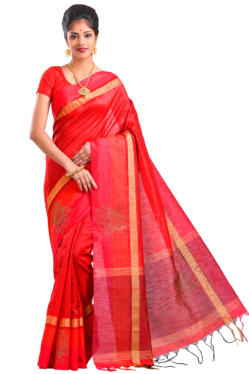 Red Color Stone Work With Patta And Pimples And Golden Bordered Matka Saree.
