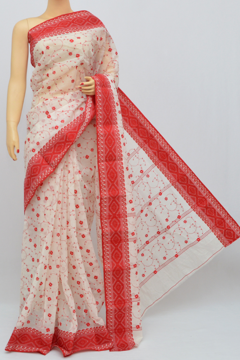 Beige-Red Border Cotton Tant Bengal Handloom Dhakai Jamdani Allover Saree (Without Blouse) - SS250327