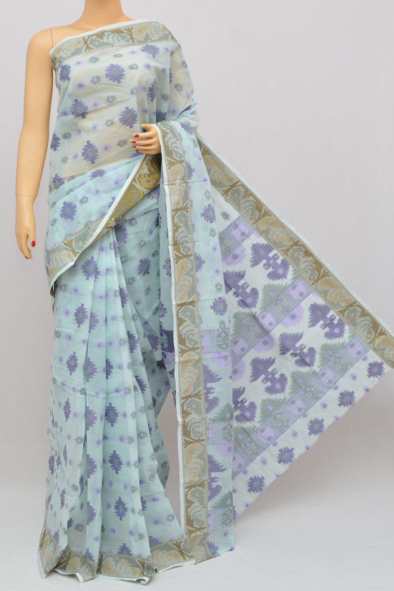 Baby Blue Color Cotton Tant Bengal Handloom Dhakai Jamdani Allover Saree (Without Blouse) - SS250329