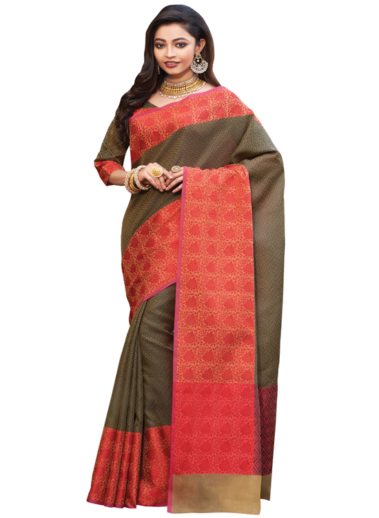 Mehandi Color Matka Art Silk Saree MC4500C111