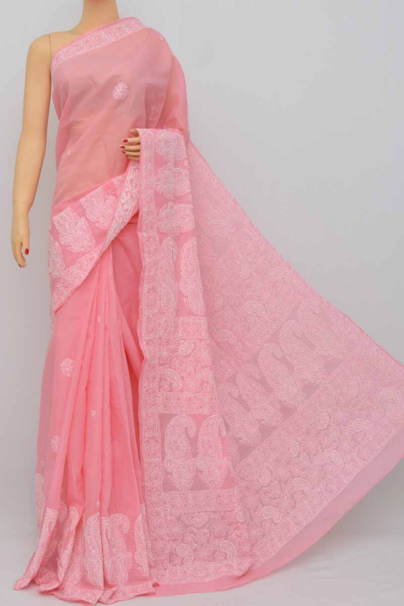 Baby Pink Color Hand Embroidered Lucknowi Chikankari Saree (With Blouse - Cotton) SS250403