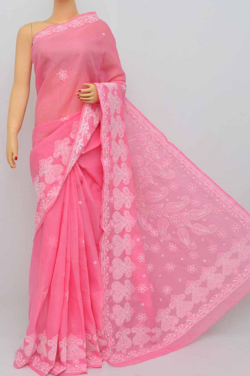 7dcccb852b Pink Color Hand Embroidered Lucknowi Chikankari Saree (With Blouse -  Cotton) SS250402