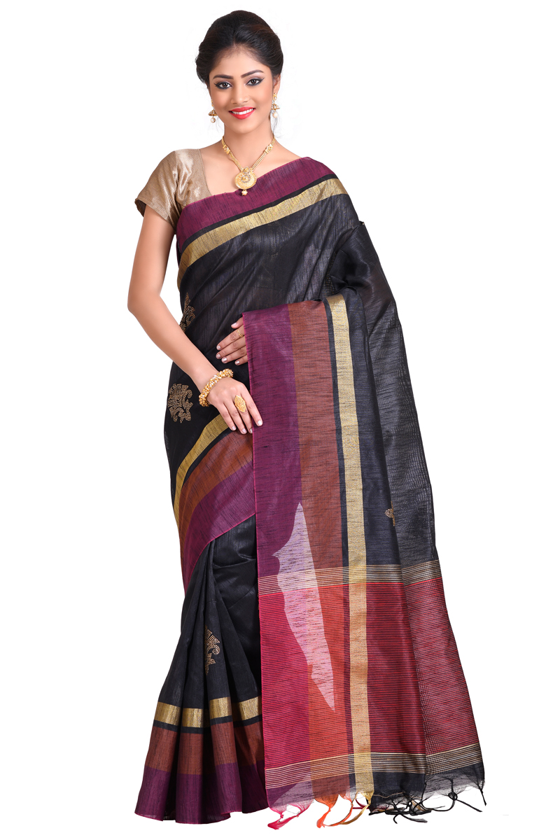 Black Color Stone Work With Patta And Pimples And Golden Bordered Matka Saree.