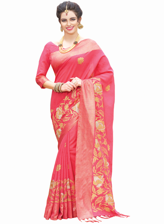 OLD ROSE, GREEN SILK SAREE MC4500F112