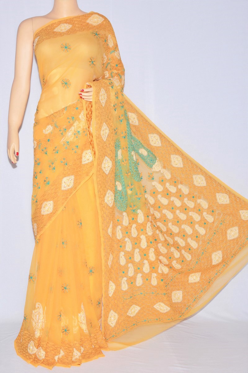 Mustard Yellow Color Resham Work  Lucknowi Chikankari Saree (With Blouse - Georgette) MC250072